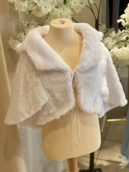 FUR CAPE WITH SLEEVES