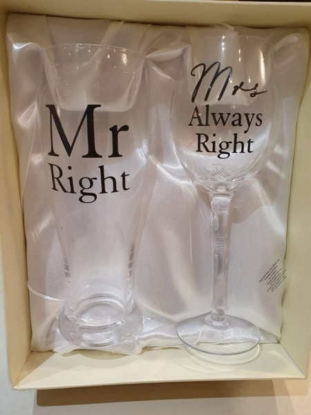 Mr Right Glass set